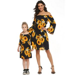 Matching Mother Daughter Clothes Off Shoulder Party Dress For Mommy And Me Sunflower Family Look Mom Baby Girl Dress Clothes