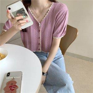 I8sQy 2020 camisa superior de punto de verano géneros de punto inconformista del cordón hueco-hacia fuera de la camisa short géneros de punto de manga corta pequeña chaqueta