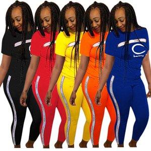 Mulheres manga curta Letter Moda Treino CHAM Camiseta T-shirt + calças Leggings 2 peça Set Outono desinger Outfits Jogger Sportswear Suit