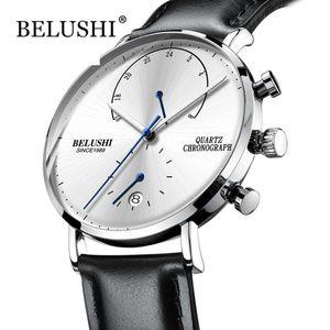Mens Waterproof Watches Leather Strap Slim Quartz Casual Business Mens Wrist Watch Top Brand Belushi Male Clock 2020 Fashion