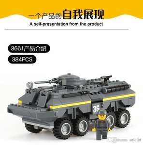 Building blocks toys plastic   plastic reloading tank small particles puzzle assembling spell insert assembly toy