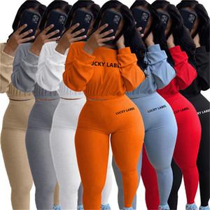 Autumn Mulheres Jogging ternos Carta Bordados Moda manga comprida O Neck Dois conjuntos de peças novas mulheres roupas de grife 2020