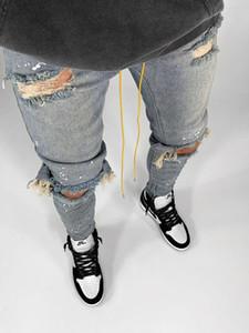KSTUN Caras rasgado Buracos Skinny Jeans joelho quebrado Hip Hop Jeans Men afligido Pintura Preto Azul