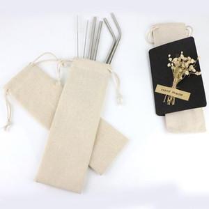 المحمولة الشرب القش حقيبة تخزين الكتان الخيش صغيرة من القطن الحقيبة القماش لالرباط السفر نزهة حقيبة DHB1292
