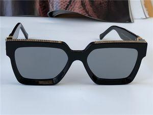 Männer Design Sonnenbrille Millionär 96006 Quadratisch Schwarz Rahmen Blaue Linse Neue Farbe Top Qualität Sommer Outdoor Avantgarde UV400 Objektiv
