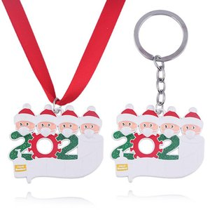 Keychain 2020 Quarantine Christmas Decoration Birthdays Party Gift Personalized Family Of 4 Ornament Pandemic with Face Masks Hand Sanitized