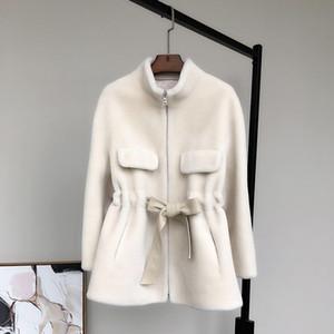 Nerazzurri Zip up ladies teddy bear jacket long sleeve sashes Winter teddy coat women faux shearling jacket 2020 women fashion
