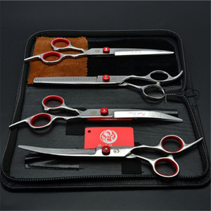 """4Pcs Suit 6"""" Stainless Purple Dragon Professional Pets Hair Shears Cutting+Thinning+UP&Down Curved Shears Grooming-for-dog Z3001"""