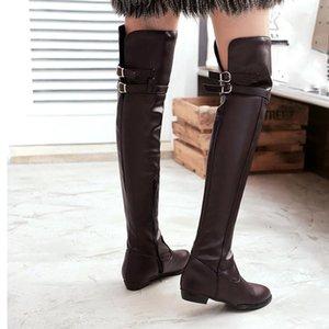 패션 여성 부츠 PU 가죽 부츠 가을과 겨울 무릎 - 하이 숙녀 두꺼운 soled stovepipe black