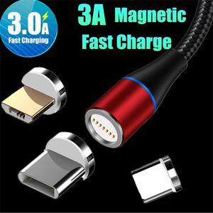 3A Câble de charge rapide USB magnétique 3 en 1 Tpye C Micro câble 1M 2M LED Nylon Tressé Chargeur ligne de données