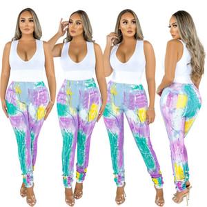 Женская Дизайнерская Graffiti Джинсы с высокой талией Карманы Skinny Jeans для женщин весна осень мода карандаш брюки