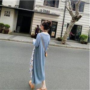 4PPXg Sommer neue Air Silk Mantel Klimaanlage Schal lose dünne Außenhülse Frauen-Farbe feste Anlage Schal Ice Mid-Länge gestrickt