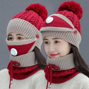 3pc Set Women Knitted Hat Scarf Caps Neck Warmer Winter Hat Ladies Girls Skullies Beanies out Riding Windproof warm Fleece Cap