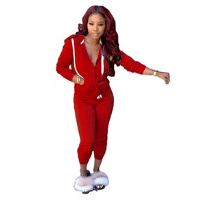 Women Tracksuit Two Solid Pieces Long Ladies Outfits Cardigan Trousers Zipper Autumn Sleeve Color Set Sportswear Street Clothes Hooded Tkdl