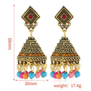 Wholesale-and Americans exaggerate rhombic wishing bell Pendant Earrings national wind Earrings explosive Bohemian style