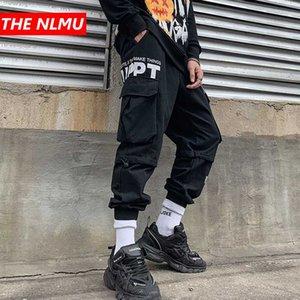 Hip Hop Carga Joggers Pants Mens Harajuku Sweatpants Streetwear Multi-bolso Track Pants Harem Calças Hipster preto WQ186