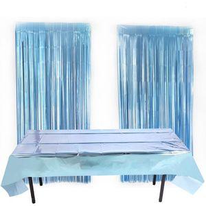 알루미늄 호일 테이블 천으로 커버 일회용 방수 파티 이벤트 테이블 천으로 커버 크리스마스 할로윈 장식 광택 식탁보 DHA1265