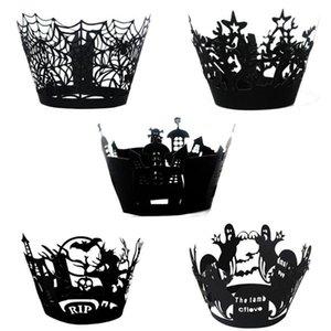 12шт / комплект Halloween завертчица выпечки Кубок Полые украшения торта Паутина Упаковочный Замок Witch Фестиваль Out Paper X6V9