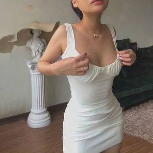 Sexy Skinny Bralette avec Bow Low Cut Slim femmes Robe 2020 femmes d'été Mode sans manches Backless Robe Femme Party Club