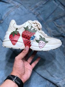 Gucci Rhyton Vintage Trainer Sneaker перевозка груза FlashTrek капер Толстая подошвой Повышена папа обувает тапки дизайн женской моды мужской обуви случайные кроссовки UP