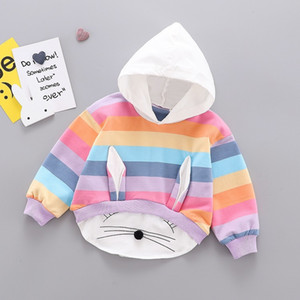 Girls Designer Fashion Hoodies Brand Hot Sale Children Rabbit Ears Sweatshirts Kids Luxury Stripe Splicing Hoodies Clothing LY089