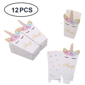 Unicorn Popcorn Box Children's Party Decoration Snacks Green Paper Box Christmas Decoration