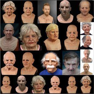 Topo da classe 100% Látex New Man mulheres humanas Old vovó ou vovô Máscara velho máscara feminina travestir ou mulher silicone Cosplay Partido Máscara Prop