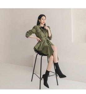 Korean version of autumn office lady high-quality retro slim top + split hip skirt suit