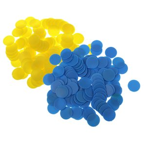 200PCS 18mm Plastic Counters Board Game Tiddly winks Teaching Aid Yellow Blue