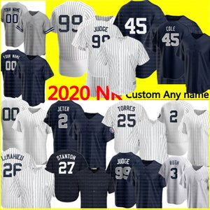 Personalizzato 99 Aaron Giudice 2 Derek Jeter 45 Gerrit Cole Jersey 25 Gleyber Torres Don Mattingly Babe Ruth Mariano Rivera Giancarlo Stanton
