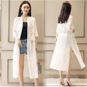 2019 Summer Beach Stand Collar Lace Kimonos Women Blouse Hollow Out Lace Thin Coats Lady Shirts Long Kimonos