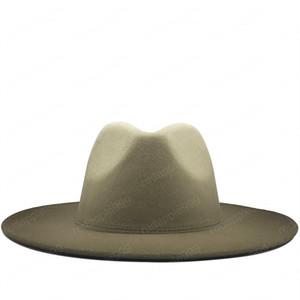 Hombres de las mujeres de lana de la vendimia del sombrero flexible de fieltro sombrero de Fedora de ala ancha Caps Jazz caballero elegante del color del gradiente para la señora del invierno del otoño