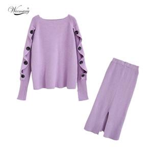 Örme Triko ve Etek İki Adet Set Kadınlar Sonbahar Kış Düğme Kadın Triko Etekler 2 Adet Setleri Kadın Kıyafetler C-294 Tops
