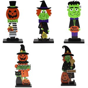Halloween Wooden Craft Pumpkin Witch Trick or Treat Printed Wooden Table Decor Kids Halloween DIY Gifts AAB1214