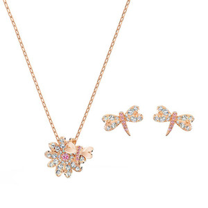 SWA Dragonfly naturel Collier Fleur Daisy Set couleur or rose