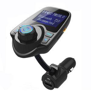 T10 Auto-MP3-Audio-Player Bluetooth FM-Transmitter Wireless FM-Modulator Car Kit Freisprecheinrichtung LCD-Display USB-Ladegerät für Handy