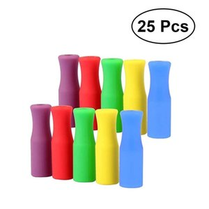 25Pcs Pack Silicone Silicone Straw Dust Cover Multi Colored Grade Straws Tips Covers Kitchen Accessories Random Color