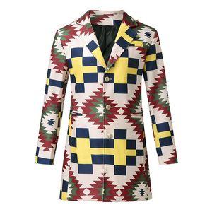 Tasarımcı Streetwear Jacket Kabanlar Man Gökkuşağı Ekose Hendek Coats Moda Yedi renkli Gökkuşağı İnce Uzun Tek Breasted Yün Orta uzunlukta
