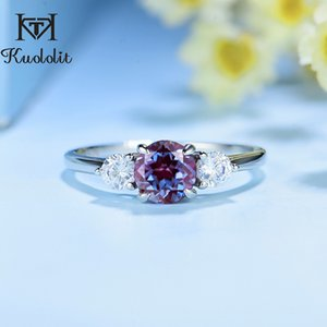 Kuololit natural Alexandrite Gemstone Ring for Women Solid 925 Sterling Silver Ring lab grown alexandrite color change stone T200908