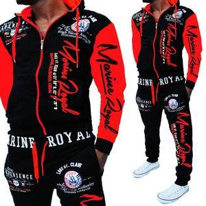 Men Track Suit Hooded Jacket Sweatsuit Mens Sports Suits brand New Sportwear Men Jogger Set Printed Tracksuit Clothes 2018