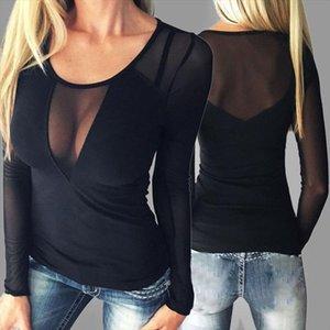 Newly Women Long Sleeve T Shirt Transparent Mesh Bodycon Tops Plus Size 5XL DO99 Drop Shipping