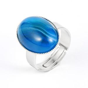 Women Men Natural Gem Stone Blue Onyx Tiger Eye Rings Crystal Turquoises Copper Open Resizable Wedding Finger Rings Jewelry Gift
