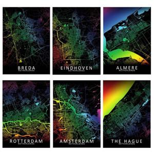 5D DIY Diamond Painting Netherlands Breda Rotterdam Tilburg Eindhoven Amsterdam-Rainbow City Map Art Wall Decor Map Painting