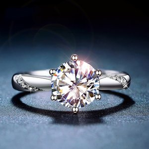 Classic 925 Sterling Silver Moissanite 1ct IJ color Lab Diamond jewelry Simple style Anniversary Ring C0924