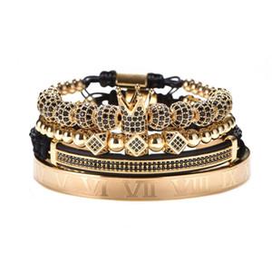 Bracelet réglable en or de luxe Hommes Homme Perles Couronne Noir CZ Zircon Charme En Acier Inoxydable Bijoux Cadeau Saint Valentin Noël