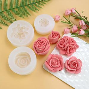 big silicone mold soap candle fondant making 3D Rose Flower Shape DIY pastry cake decoration baking tool