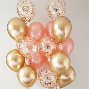In Stock 12inch Metallic Black Gold Latex Balloons Confetti Set Birthday Party Decorations Mix Balloon Anniversary Wedding Gift