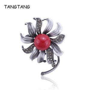 Tangtang Red Broche 2020 preto novo Broches tom para Mulheres Flower Morning Glory broche jóias Red Stone Crystal Pearl Pin