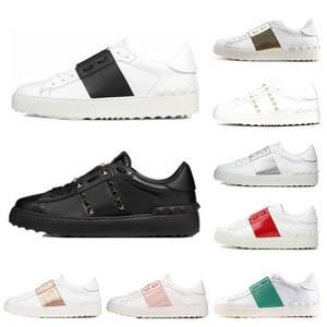 Valentino 2019 Nova arrivel Designer de Sapatos de Moda Branco Das Mulheres Dos Homens de Couro Casual Low Sneakers Esportes Tamanho 35-46 Com Caixa