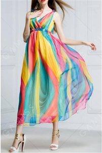 Ropa para mujer de verano Wommer diseñador ocasional de la gasa sin mangas vestidos de cuello en V profundo atractiva femenina vestidos casuales de la moda